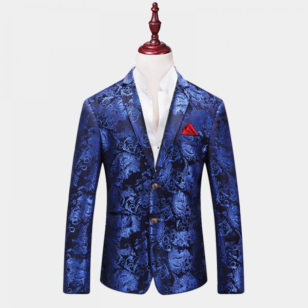 Mens Royal Blue Floral Blazer