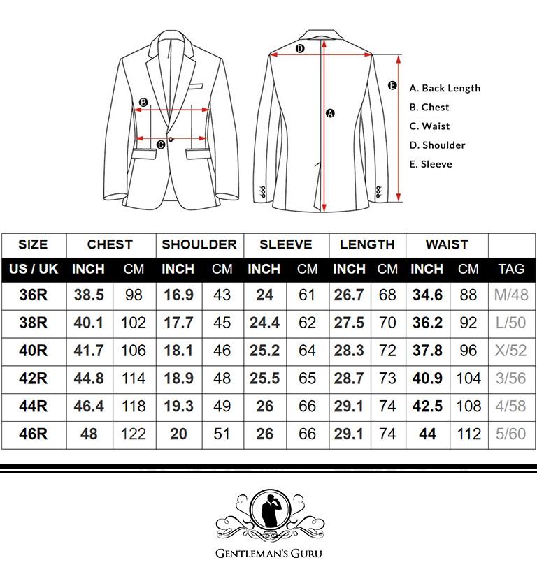 Mens Velvet Blazer Size Chart