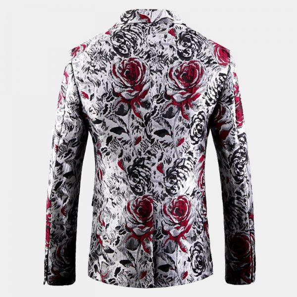 Mens White Floral Jacket