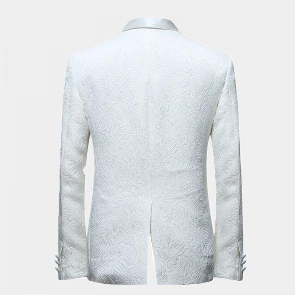 Mens White Floral Tuxedo Blazer