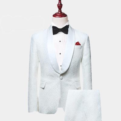 Mens White Floral Tuxedo
