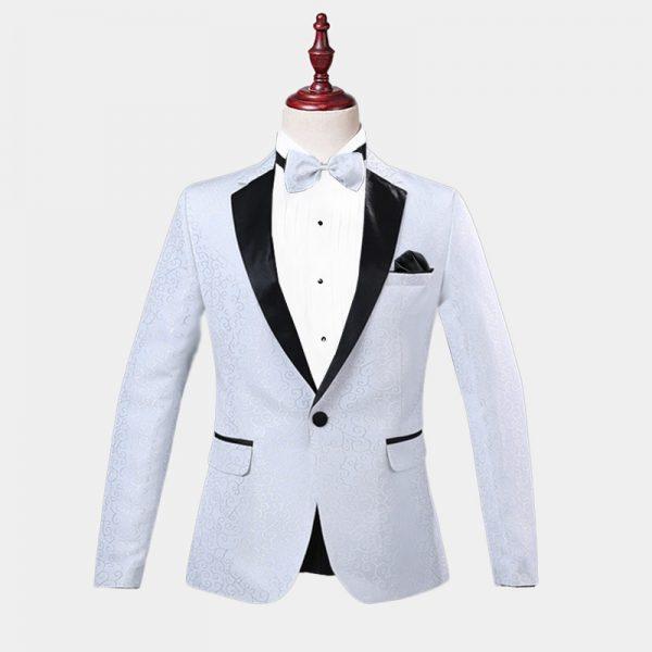Mens White Jacquard Tuxedo Jacket