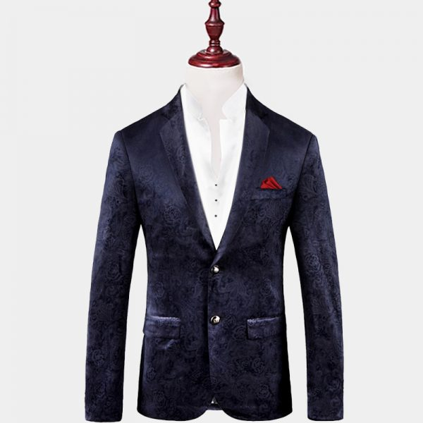 Mens Navy Blue Floral Blazer