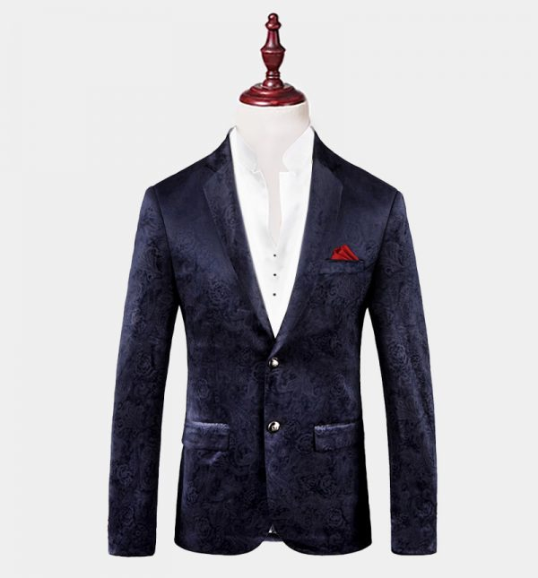 Mens Navy Blue Floral Blazer