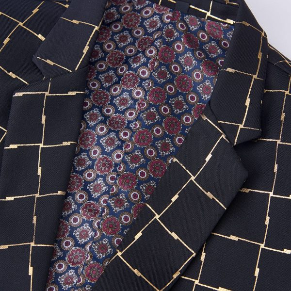 Plaid Men's Dinner Jacket In Black And Gold