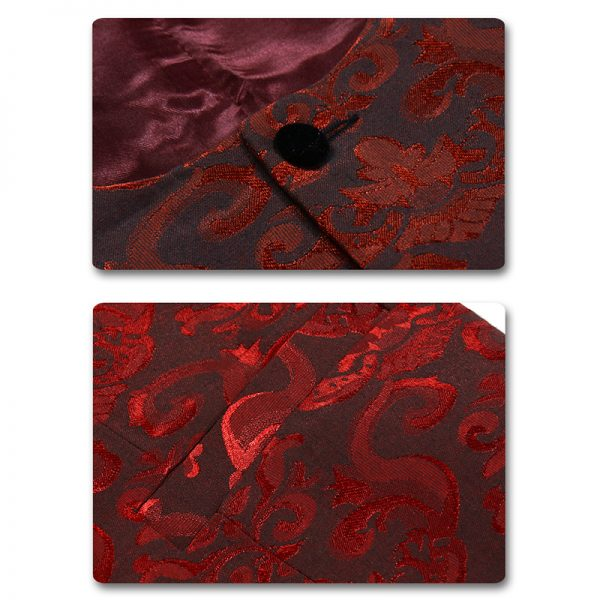Red Floral Print Tuxedo Material