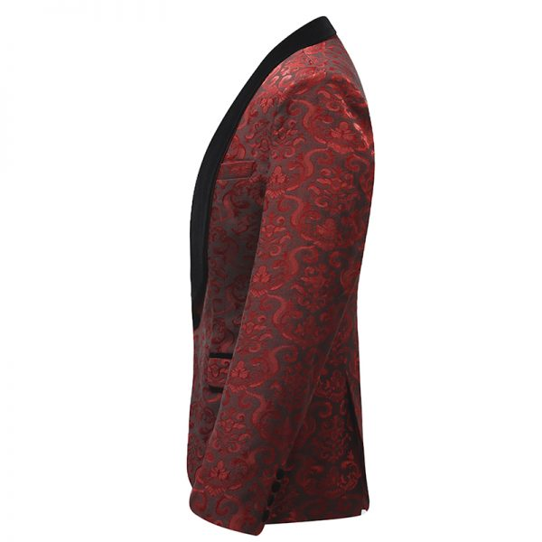 Red Floral Tuxedo Jackets For Men