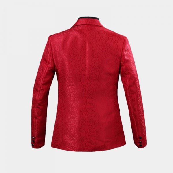 Red Jacquard Tuxedo Blazer