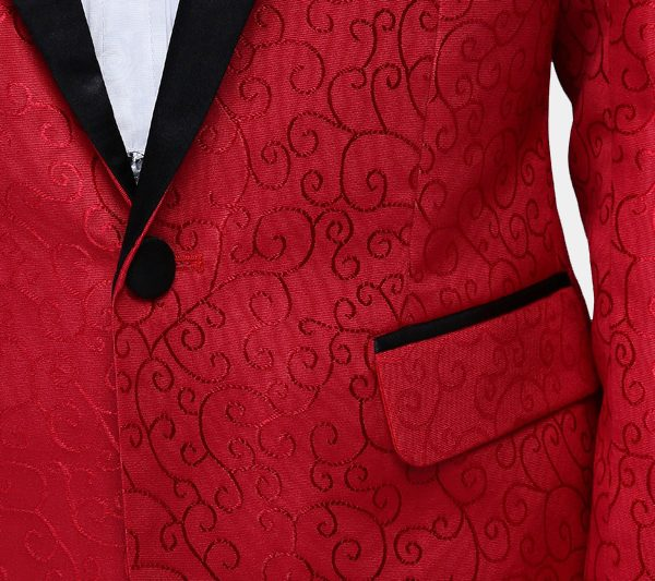 Red Tuxedo Jacket With Satin Lapel