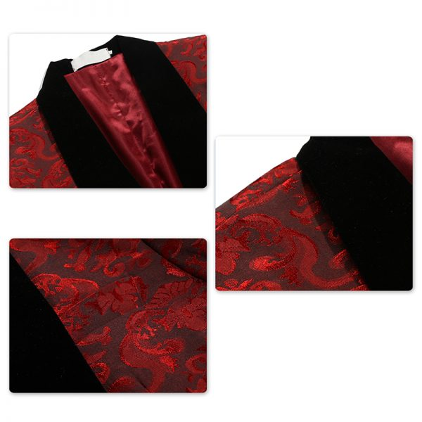 Red Tuxedo With Black Wide Shawl Collar