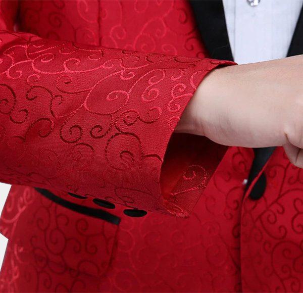 Red Wedding Formal Jacket with Jacquard Weave Desing