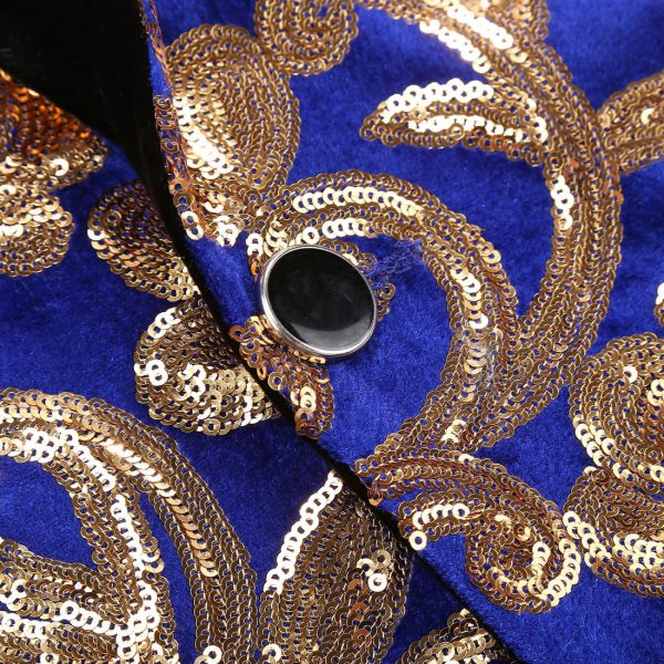 Royal Blue And Gold Sequin Tuxedo Jacket