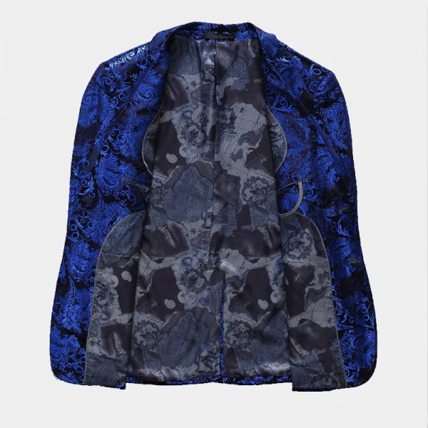 Royal Blue And Black Mens Jacket With Floral Print