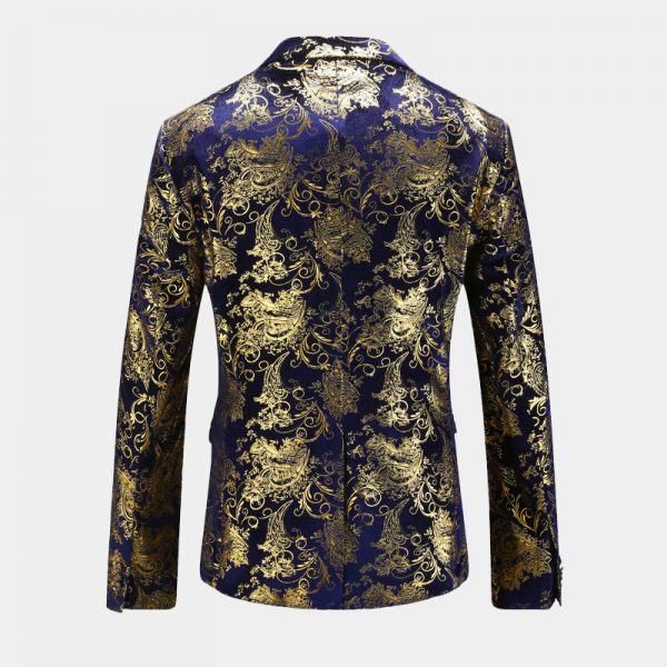 Royal Blue And Gold Mens BlazerJacket With Velvet Floral Pattern