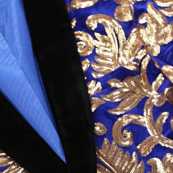 Royal Blue And Gold Sequins Tuxedo Jacket With Black Shawl Lapel-Collar
