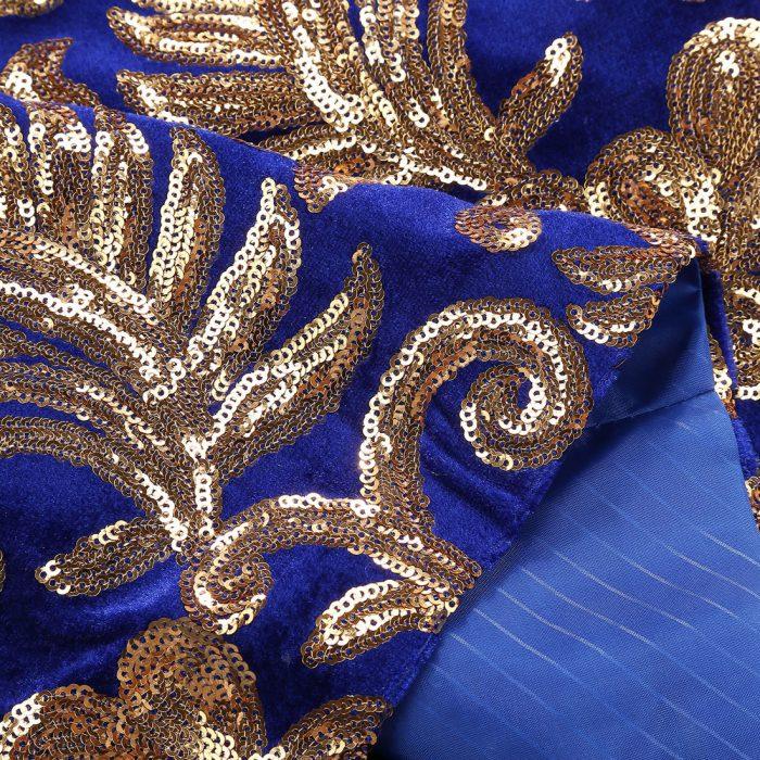 Royal Blue And Gold Wedding Prom Sequin Velvet Tuxedo Jacket