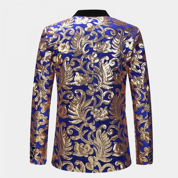 Royal Blue And gold Sequin Floral Tuxedo Jacket
