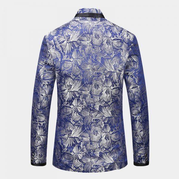 Royal Blue Floral Tuxedo Blazer