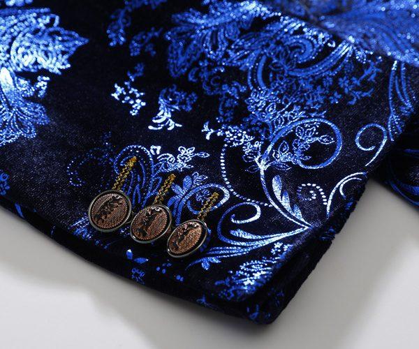 Royal Blue Floral Velvet Blazer