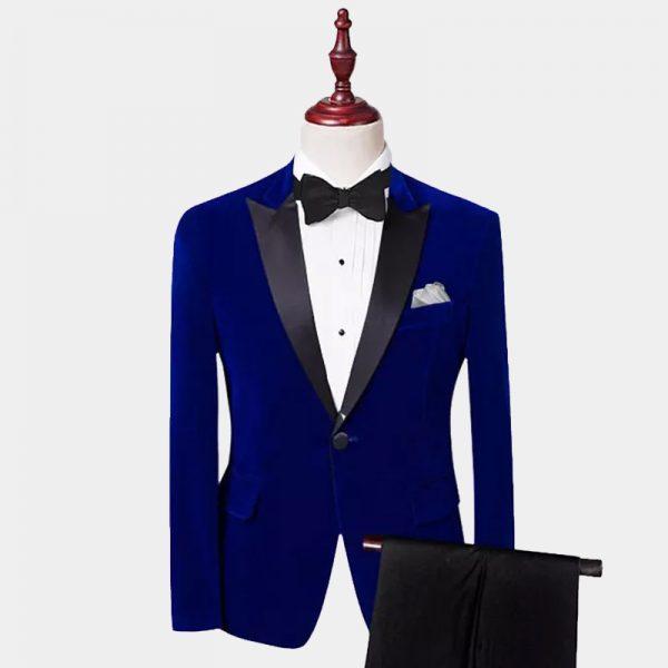 Royal Blue Velvet Tuxedo Suit With Peak Collar from Gentlemansguru.com