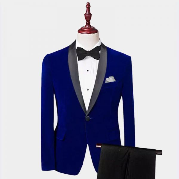 Royal Blue Velvet Tuxedo Suit With Shawl Collar from Gentlemansguru.com