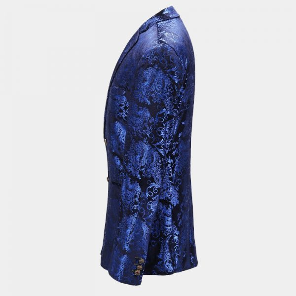 Royal Blue floral Jacket Mens