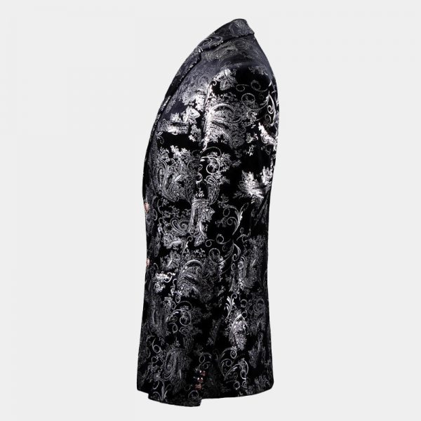Silver And Black Floral Mens Formal Jacket