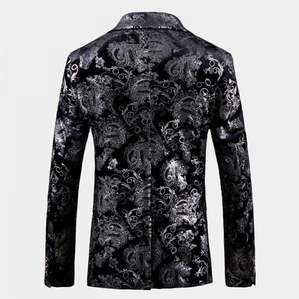 Silver And Black Mens Floral Velvet Jacket Blazer