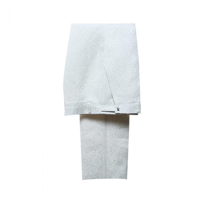 White Floral Tuxedo Pant