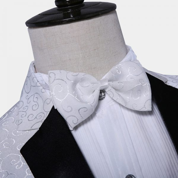 White Jacquard Floral Tuxedo Jacket And Bow Tie