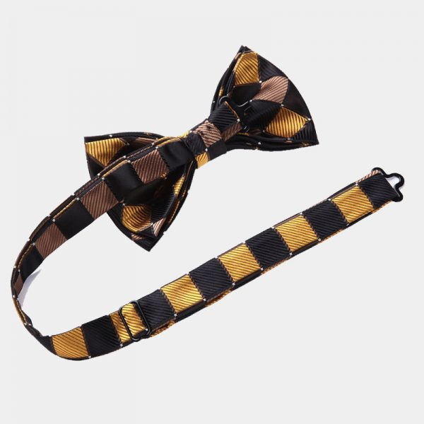 Gold And Black Plaid Bow Tie Set