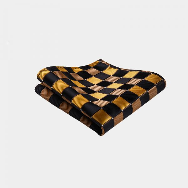 Gold and Black Plaid Pocket Square