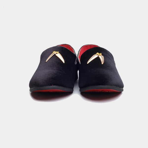 Black And Gold Suede Loafers With Tassels