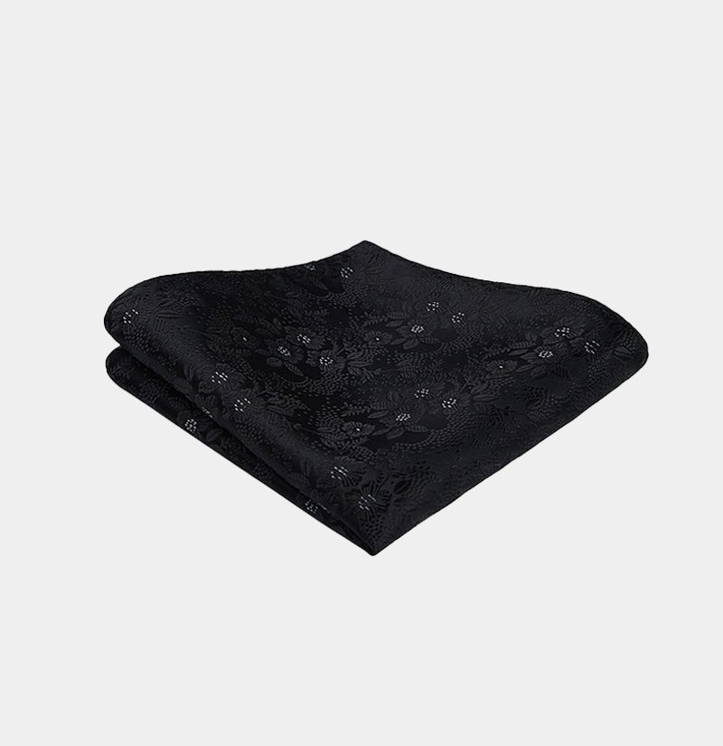 Black Floral Pocket Square from Gentlemansguru.com