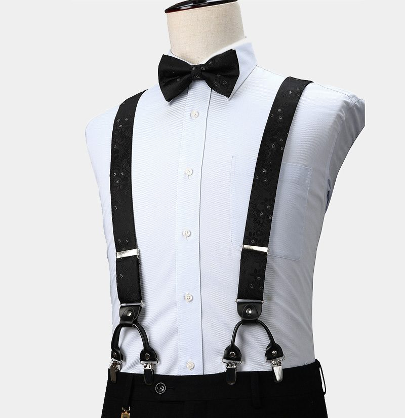 Black Floral Suspenders And Bow Tie Set from Gentlemansguru.com