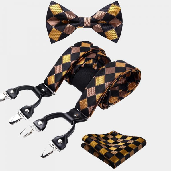 Gold and Black Plaid Bow Tie And Suspenders Set