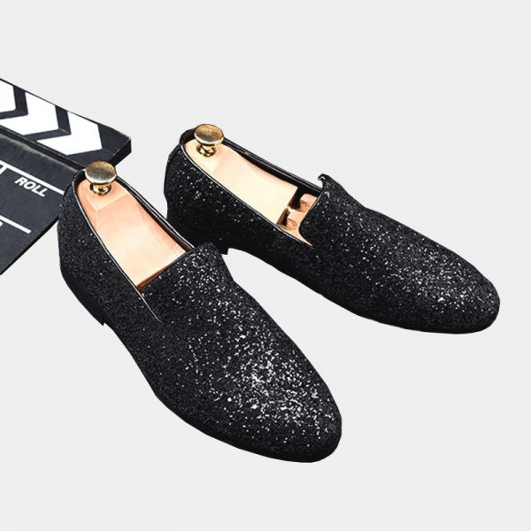 Black Mens Sparkly Loafers