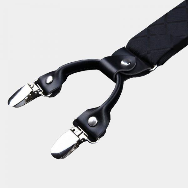 Black Plaid Clip On Suspenders