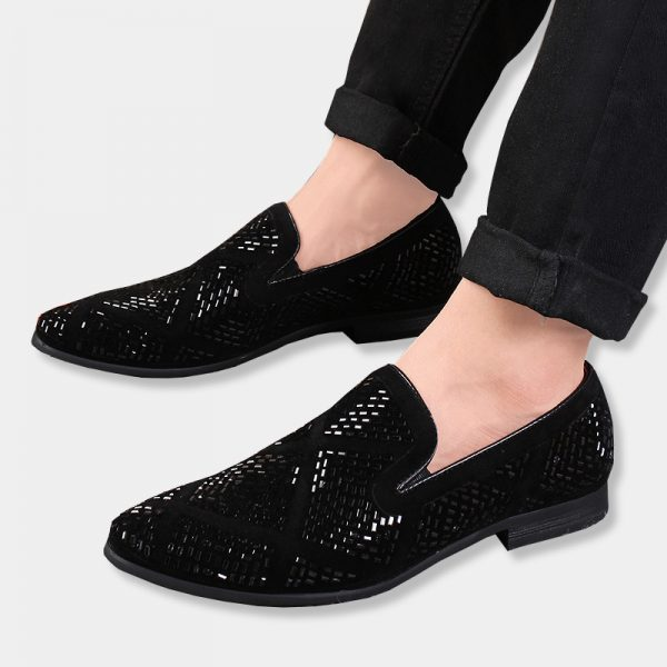 Black Sparkly Mens Loafers