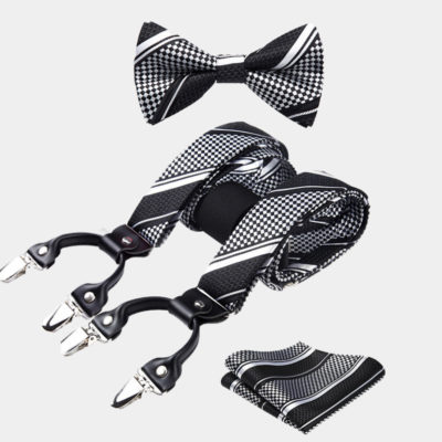 Black And White Striped Bow Tie And Suspenders Set from Gentlemansguru.com