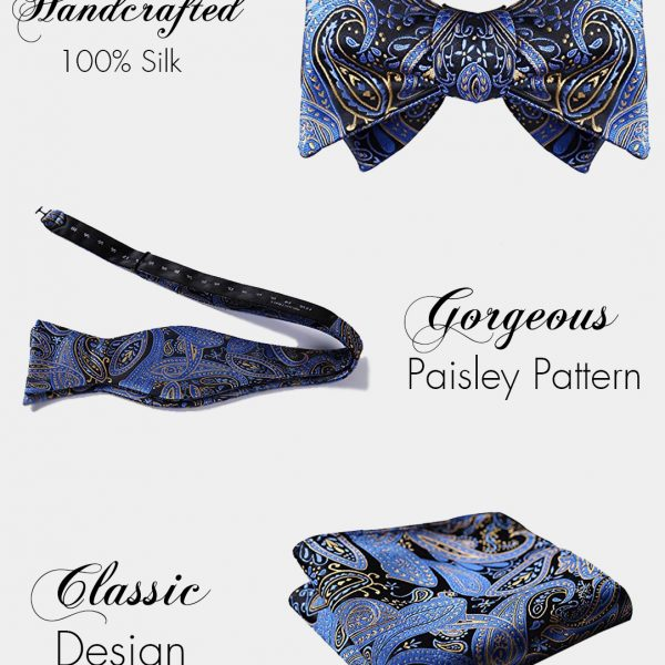 Blue And Black Paisley Bow Tie & Pocket Square Set