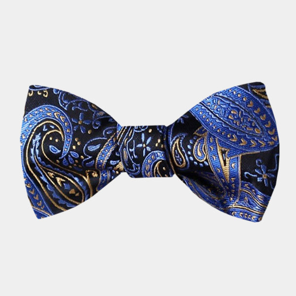 Blue And Gold Paisley Bow Tie For Men from Gentlemansguru.com