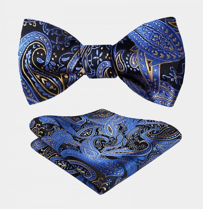Blue And Gold Paisley Bow Tie Set from Gentlemansguru.com