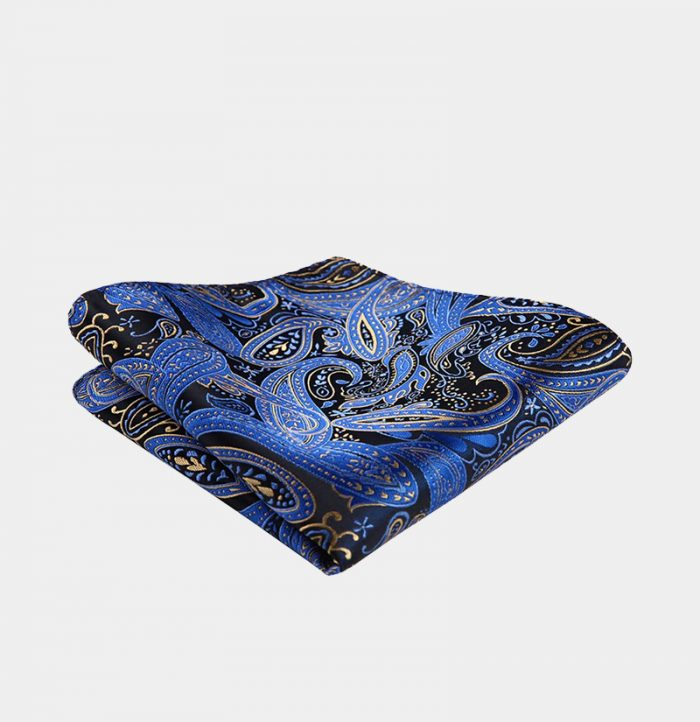 Blue And Gold Paisley Pocket-Square-Handkerchief from Gentlemansguru.com