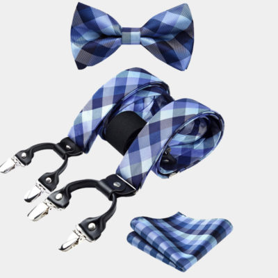 Blue Bow Tie And Suspenders Set