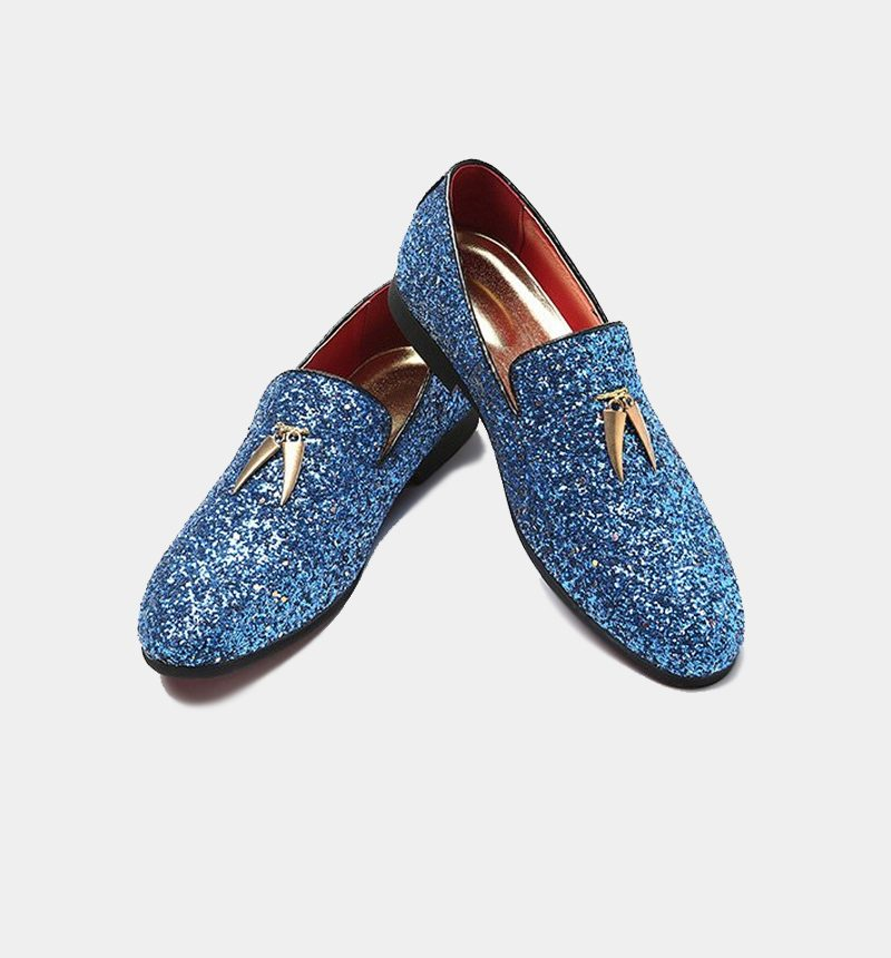 Blue Glitter Loafers With Gold Tassel for Men