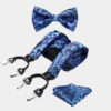 Blue Paisley Bow Tie And Suspenders Set from Gentlemansguru.com