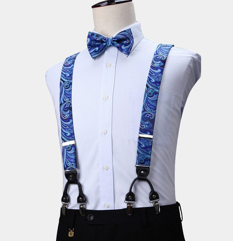 Blue Paisley Suspenders And Bow Tie Set from Gentlemansguru.com