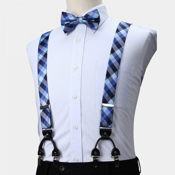 Blue Plaid Suspenders And Bow Tie Set