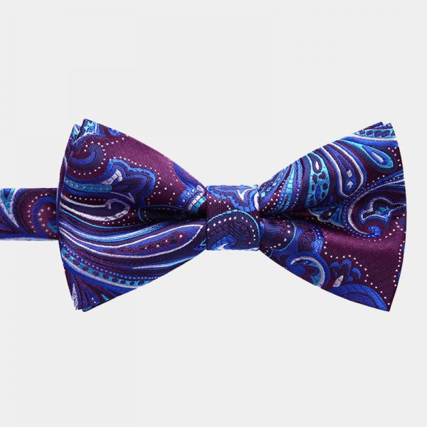 Blue and Purple Paisley Bow Tie And Suspenders Set from Gentlemansguru.com